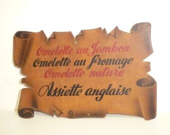 Large and charming French Hand painted wooden sign from a restaurant  Omelet with cheese or ham and English plate