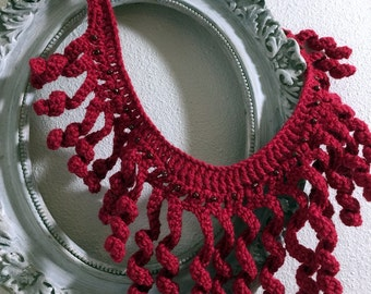 Red Crochet  necklace, Gift for her, Handmade necklace, Boho, Crochet jewelry, Ready to ship