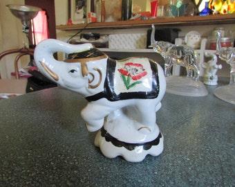 Vintage Porcelain Handpainted Circus Elephant Figurine