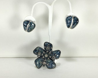 Brooch Pendant Earring Set, Blue Jewelry Set, Poured Glass Jewelry, Brooch Pendant Combo, Demi Parure, Boho Mod Jewelry, Accessocraft NYC