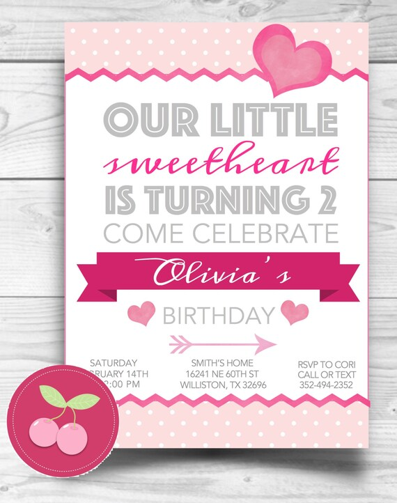 Heart sweetheart birthday invitation baby shower girl birthday il570xn stopboris Image collections