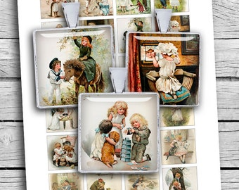 "Digital Collage Sheet Victorian Children 1x1"" 1.5x1.5"" Square Printable images for Pendants Magnets Scrapbooking - Instant Download"