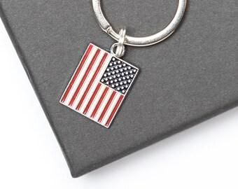 USA Flag Keyring | USA Key Chain | Travel Keyring | Travel Gift Idea | American Gift Idea