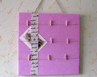 Pink burlap bulletin board, memo board, vision board, notice board, rustic, message board, gift
