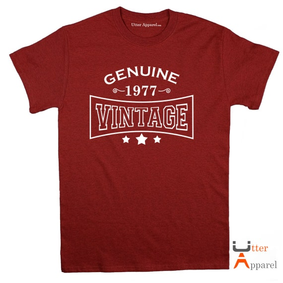 40th Birthday Gift For Man 1977 Vintage T shirt ideal present for men celebrating a fortieth birthday, medium large xl 2xl