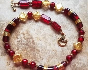 "Murano Italian Venetian Red Glass Necklace - 18"""