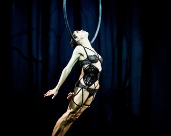 Neck Flight, Aerial, Aerialist, Cerceau, Hoop, Lyra, Circus, Performance, Giclée Print, Archival, Photograph, Color, Glossy