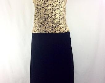 Womens 1960s Gold Brocade 2pc Dress with Black Velvet Pencil Skirt size 10