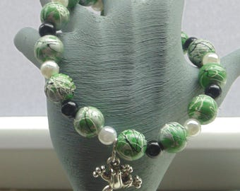 Hand painted Wooden Beads Stretch Bracelet