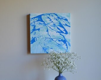 Bue and White Drippy/Marbled Abstract Painting