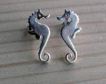 Silver Studs-Sea Horse Studs-Silver Sea Horse Earrings-Charm Studs-Silver Ocean Jewelry-Sterling Sea Horse Earrings