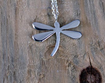 Silver Dragonfly Necklace -Sterling Silver Dragonfly Necklace -Dragonfly Pendant - Dragonfly Jewelry - Insect Jewelry-Valentines Day Gift