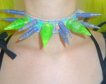 SALE! Green and purple holographic spiked choker