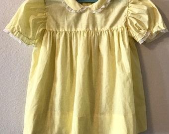 Vintage Sunshine Yellow Dress. Vintage Yellow Spring Dress. Sunshine Yellow Baby Dress. Sunshine Yellow Blouse. Yellow Cotton Dress.