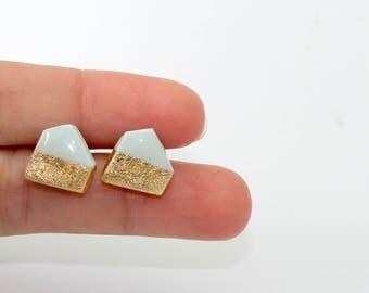 Geometric stud earrings in light Tiffany blue with gold foil
