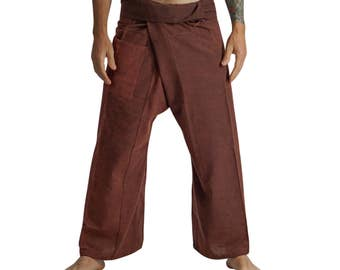 THAI FISHERMAN PANTS Stone Rust- Harem Pants, Peasant, Pirate Costume, Buccaneer Pants, Larp Costume, Medieval Clothing, Burning Man,Zootzu