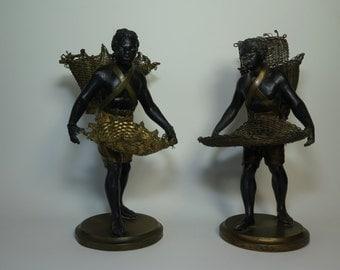 Pair of Blackamoor Figures 19th Century Antique Spelter
