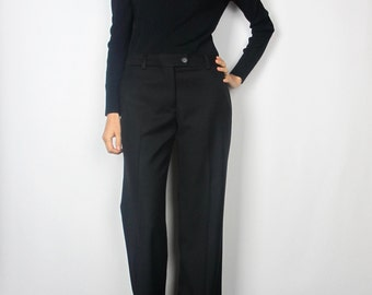 Classic mid-rise suit pants / S / 2 / black wool slight flare career trousers preppy simple vintage 90s J. Crew high quality