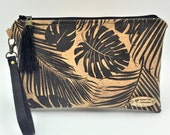 Clutch,  Cork Clutch, Cork Handbag, Wristlet, Clutch Purse, Evening Bag, Zippered Bag in Tropical Leaf - Made in Maui
