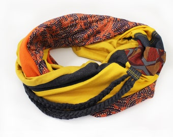 Yellow Infinity scarf Soft circle scarf Boho wrap Women scarves Cotton cowl scarf Loop scarf Fashion double wrap scarf Gift for her