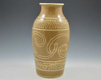 Flower vase, pottery vase, ceramic vase, flower pot, brown vase, hand carved vase, ancient style, ready to ship