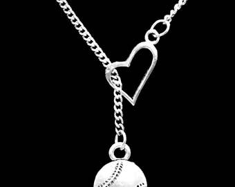 Baseball Necklace, Softball Necklace, Sports Necklace, Baseball Mom Mother Necklace, Heart Y Lariat Necklace