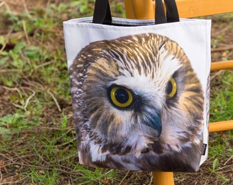 Saw Whet Owl Shoulder Bag - Great Owl Lover Gift - A Unique Shopping Tote Bag