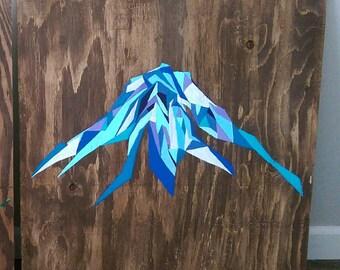 Mt Rainier Wood Painting  Geometric Art