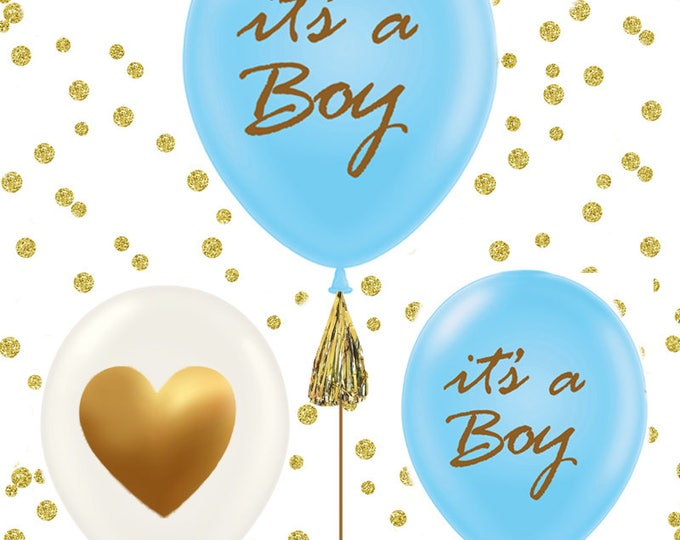 It's a Boy, It's a Girl baby shower balloons, set of 3 gold baby shower balloons, gold baby shower decorations, pink and gold, blue and gold