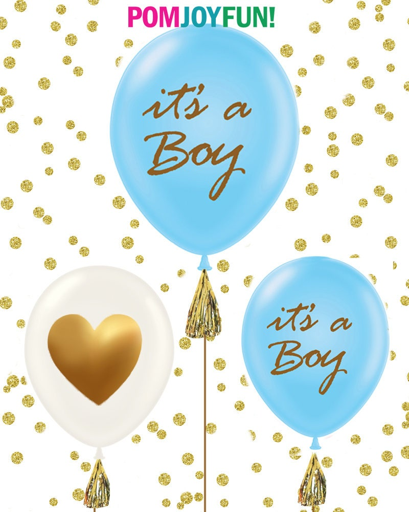 Itu0027s A Boy, Itu0027s A Girl Baby Shower Balloons, Set Of 3 Gold Baby Shower  Balloons, Gold Baby Shower Decorations, Pink And Gold, Blue And Gold