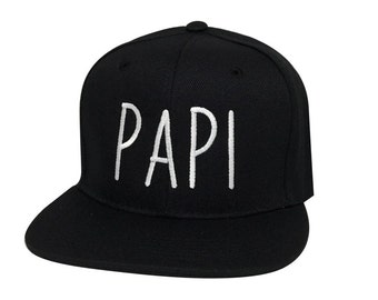 PAPI Embroidered Flat Bill Snapback Hat Cap Black/Black Bill