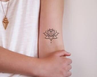 Small Lotus Temporary Tattoo Bohemian Boho