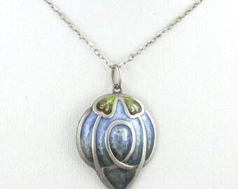 1890s - Jugendstil / Art Nouveau / Arts & Crafts Enameled Sterling Silver Pendant