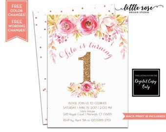 First Birthday Party Invitation - Pink and Gold Floral - Girl Birthday - Printable - First Birthday Invite - Any Age - LR1074
