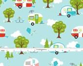Retro Camper Quilt Fabric, Riley Blake Glamper-licious C6310 Aqua, Camper Fabric, Travel Trailer, RV, Glamping Fabric, Cotton
