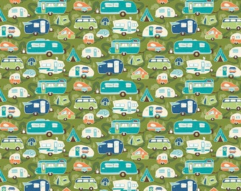 Riley Blake Road Trip, C5622 Road Trailer Green, Retro Camper Quilt Fabric, Travel Trailer, RV, Glamping Fabric, VW, Kelly Panacci, Cotton