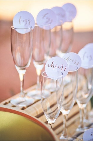 set of 10 round champagne glass escort cards | place cards | seating assignments