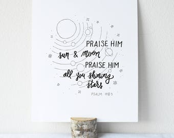 Psalm 148:3 Printable Bible Verse Art Print 8x10 Digital Wall Art Gift