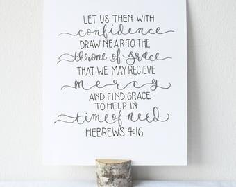 Hebrews 4:16 Printable Bible Verse Art Print 8x10 Digital Wall Art Gift