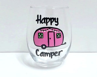 Happy Camper stemless wine or pint glass/ camping wine or pint beer glass/ retired wine glass
