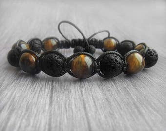 Uncle gift for sibling gifts Braided bracelet Shambala bracelet Mens bracelet tiger eye bracelet Lava bracelet Gemstone bracelet Men jewelry