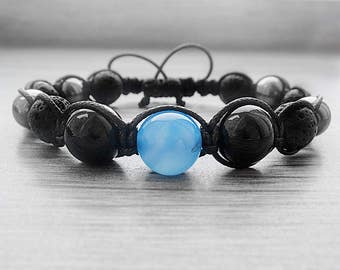 30th birthday gifts|for|husband gift ideas for dad bracelet Gemstone bracelet Black lava bracelet Mens bracelet Agate bracelet Boho bracelet