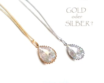 Set Necklaces Diamond Cut Clear Crystal. Gold Necklace. White Necklace. Pendant Necklace. Crystal Necklace. Bridal necklace, Bridesmaid Gift