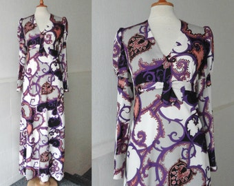 Purple 70s Maxi Vintage Dress With Puff Sleeves // White Gray Purple Black