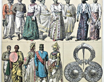 Sinhaleses  and Indians  in the Early modern period. Antique print,1894. History engraving.  123 years old print.  11,50 x 8,40 inches.
