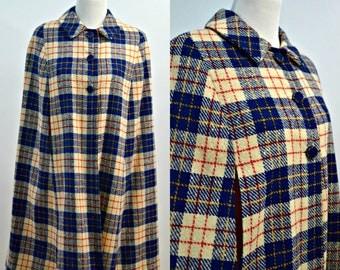 Vintage 60s Plaid Peter Pan Collar Cape / 1960s Scottish Cape Coat / Poncho One Size / Small Medium Large S M L / Red Blue Cream