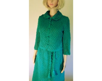 Vintage 1960's Turquoise Cotton Hand Crocheted Suit by Makek & Co/Beirut Lebanon W/ Cropped 3/4 Sleeve Button Down Jacket Approx Sm/ Med