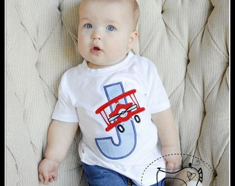 Boys Airplane Shirt, Boys Personalized Airplane Shirt, Vintage Airplane Personalized Shirt, Embroidered Applique Shirt or Bodysuit