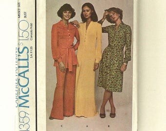 Vintage 70s McCall's Misses Pullover Maxi Dress or Top and Pants Sewing Pattern #4359-UNCUT-Size 16 (Bust 38)-For Unbonded Stretchable Knits