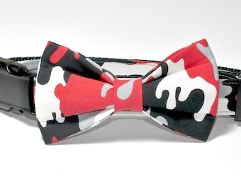 Red Camo Dog Collar Bow Tie set